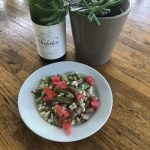 Trefethen dry riesling with Southern succotash